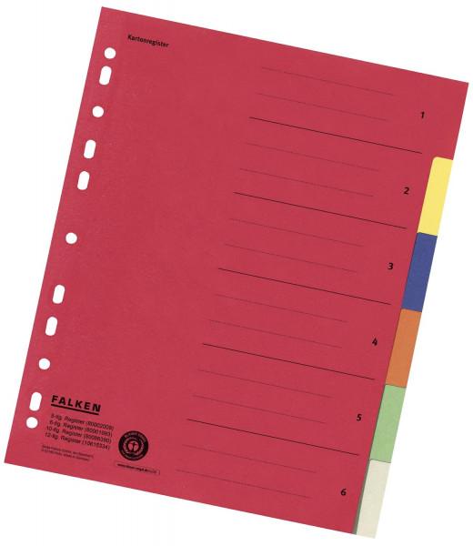 Zahlenregister - 1-6, Karton farbig, A4, 6 Farben, gelocht mit Orgadruck