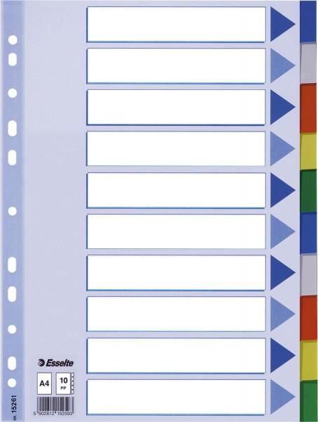 Esselte Register blanko, PP, A4, 10-teilig + Deckblatt, farbig