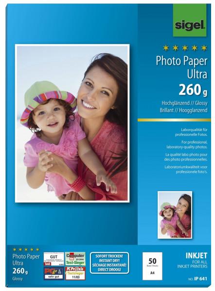 Sigel IP641 Inkjet Fotopapier Ultra - hochglänzend, 260 g/qm, 50 Blatt