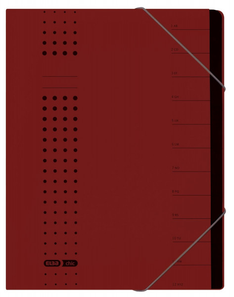 Ordnungsmappe chic, Karton (RC), 450 g/qm, A4, 12 Fächer, bordeaux