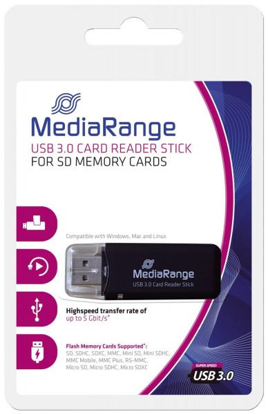 USB 3.0 Speicherkartenlese-Stick, schwarz