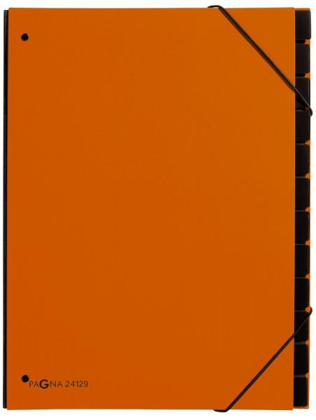 Pultordner Trend - 12 Fächer, Eckspanngummi, orange