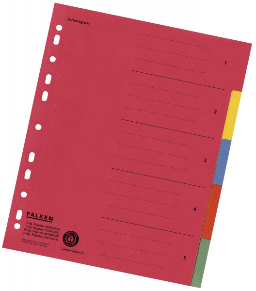 Falken Zahlenregister - 1-5, Karton farbig, A4, 5 Farben, gelocht mit Orgadruck