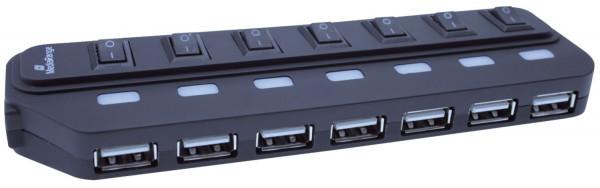 USB 2.0 Hub 1:7 mit seperaten Ein-/Aus-Schaltern