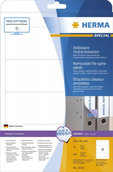 Herma 10165 Rückenschild A4 weiß 192x61 mm Movables/ablösbar, 100 Stück