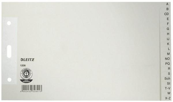 Leitz 1206 Papierregister A - Z A5 quer, Überbreit, 100 g/qm, 20 Blatt, grau