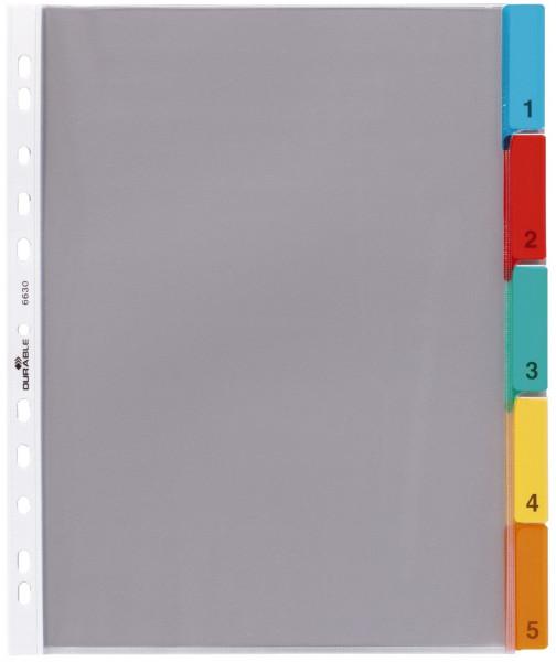 Durable 6630 Hüllenregister Folie, blanko, transparent, A4, 5 Blatt