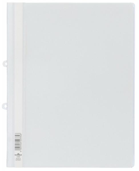 Durable 2580 Sichthefter weiß mit Abheftschieber, A4, Hartfolie