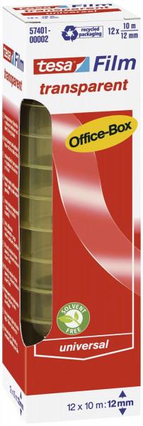 Tesa® 57401 Bandgröße 10 m x 12 mm Klebefilm Office Box 12 Rollen transparent