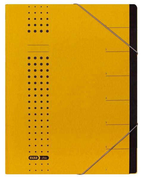 Ordnungsmappe chic, Karton (RC), 450 g/qm, A4, 7 Fächer, gelb