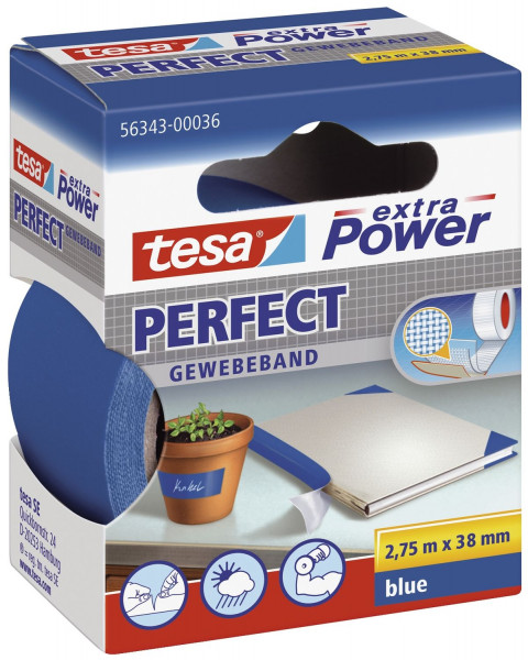 Gewebeklebeband extra Power Gewebeband, 2,75 m x 38 mm, blau