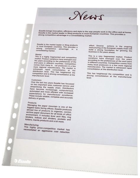 Esselte 56066 Prospekthüllen, A4, glasklar, 0,06 mm, 100 Stück