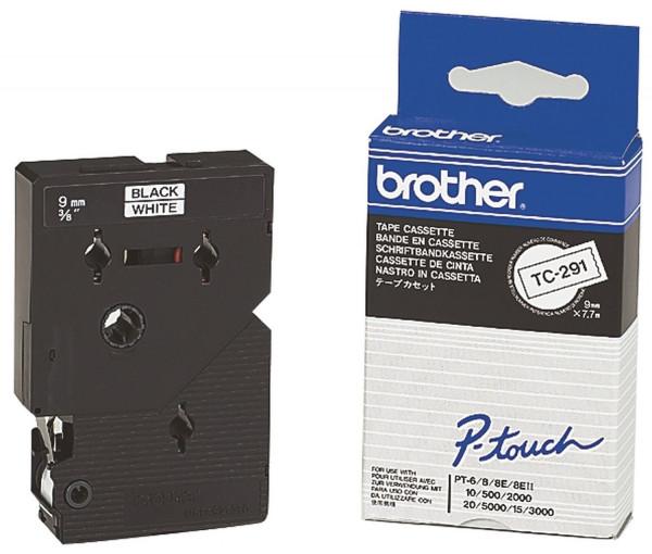 Brother® TC 291 Schriftbandkassetten, laminiert, 9 mm x 7,7 m, schwarz auf weiß