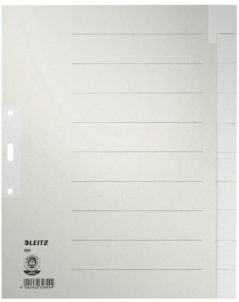 Leitz 1221 Register Tauenpapier, blanko, A4 Überbreite, 10 Blatt, grau