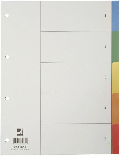 Q-Connect Register blanko, PP, A4, 5 Blatt, Taben 5-farbig