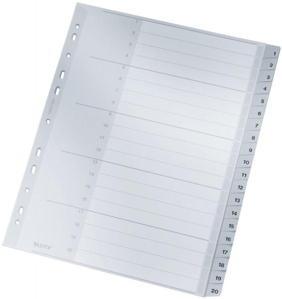 1284 Zahlenregister - 1-20, PP, A4 Überbreite, 20 Blatt, grau