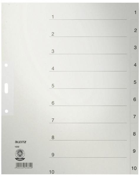 Leitz 1232 Zahlenregister 1-10 Papier A4 Überbreite 10 Blatt grau