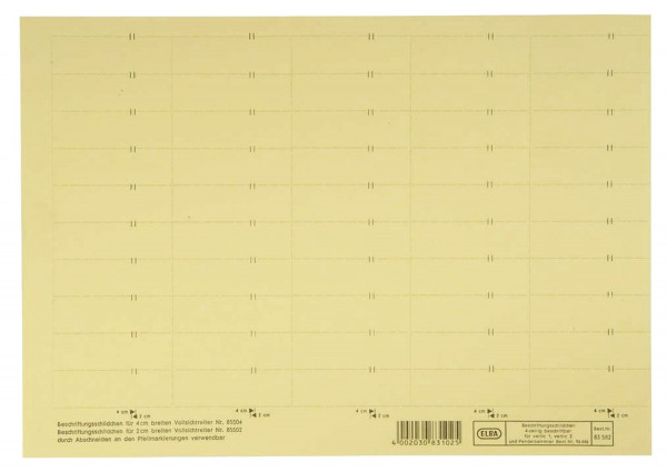 vertic® Beschriftungsschild für Registratur, 58 x 18 mm, gelb, 50 Stück