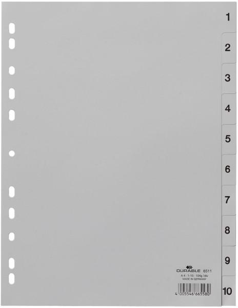 Durable 6511 Zahlenregister, PP, 1 - 10, grau, A4, 10 Blatt