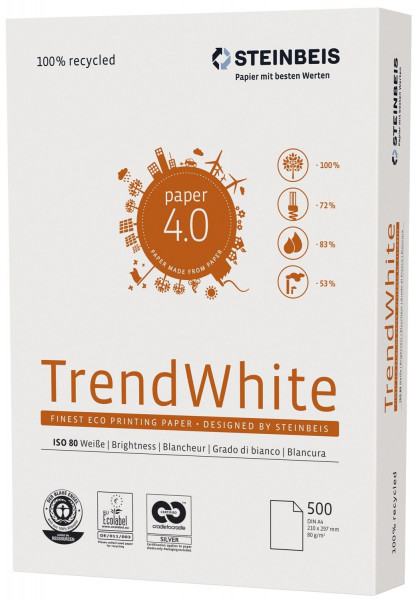Steinbeis Trend White A4, Recycling 80g, weiß, 500 Blatt