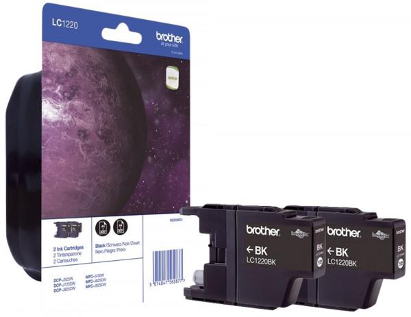 Brother® LC1220BKBP2 Inkjet-Druckpatronen schwarz, 2 x 300 Seiten,
