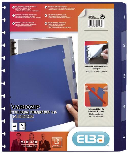 Ringmappen-Register image vario-zipp, PP, transluzent/dunkelblau, A4, 5 Blatt