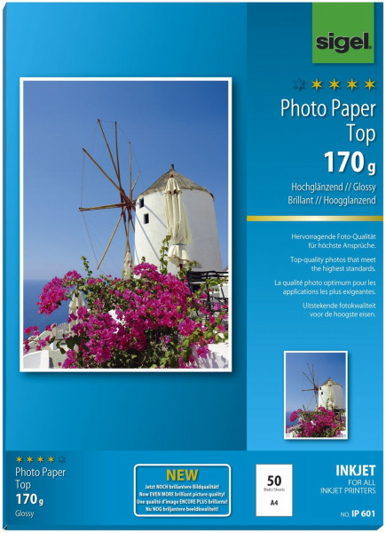Sigel IP601 Inkjet Fotopapier Top - A4, hochglänzend, 170 g/qm, 50 Blatt