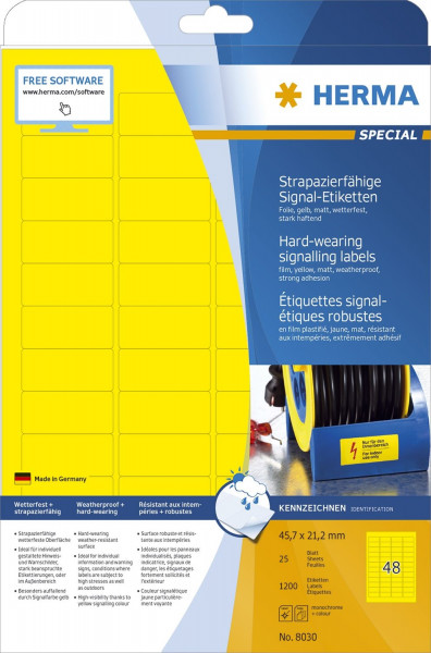 Herma 8030 Signal Etiketten A4 45,7x21,2 mm gelb stark haftend Folie matt wetterfest 1200