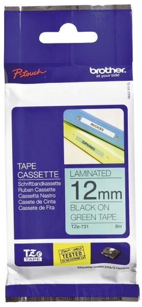 Brother® TZe 731 Schriftbandkassette - laminiert, 12 mm x 8 m, schwarz auf grün