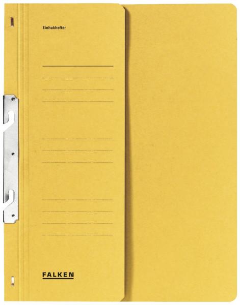 Falken Einhakhefter A4 gelb halber Vorderdeckel kfm. Helfung, Manilakarton, 250 g/qm