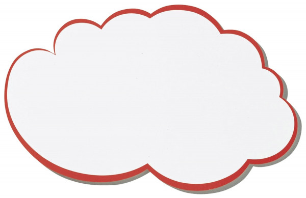 Moderationskarte, Wolke, 420 x 250 mm, weiß mit rotem Rand, 20 Stück