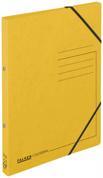 Falken Ringbuch Colorspankarton gelb A4, 2-Ring, Gummizug