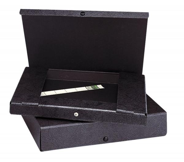 Dokumentenmappe, Hartpappe (RC), 1,4 mm, A4, 30 mm, schwarz