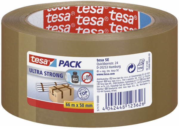 Tesa® 57177 Packband braun tesapack® Ultra Strong, PVC, 66 m x 50 mm,