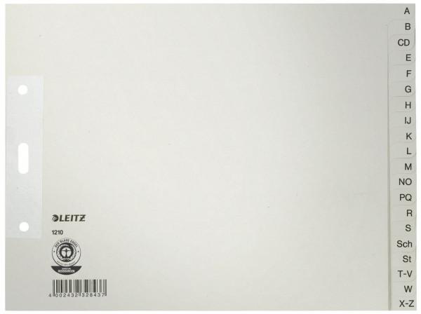 Leitz 1210 Register A - Z, Papier, A4 Überbreite, halbe Höhe, 20 Blatt, grau