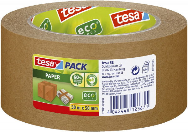 Tesa® 57180 Packband Papier 50 m x 50 mm tesapack® Paper EcoLogo, braun