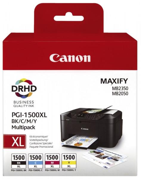 Canon Inkjet-Druckpatronen schwarz, cyan, magenta, yellow, 1x1.200, 3x780 Seiten, 9182B004