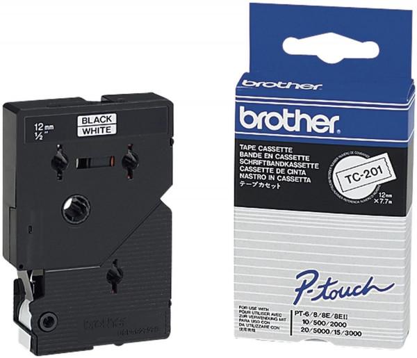 Brother® TC 201 Schriftband schwarz auf weiß, 12 mm x 7,7 m