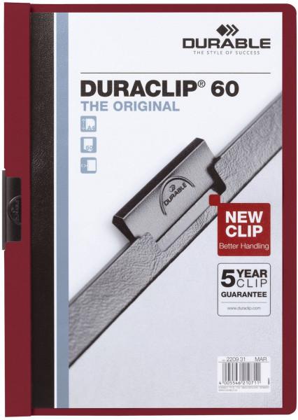 Klemm-Mappe DURACLIP® 60, DIN A4, aubergine/dunkelrot