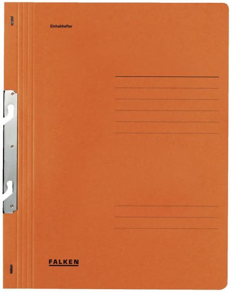 Falken Einhakhefter A4 orange ganzer Vorderdeckel kfm. Heftung, Manilakarton, 250 g/qm