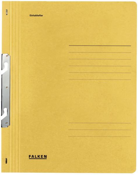 Falken Einhakhefter A4 gelb ganzer Vorderdeckel kfm. Heftung, Manilakarton, 250 g/qm