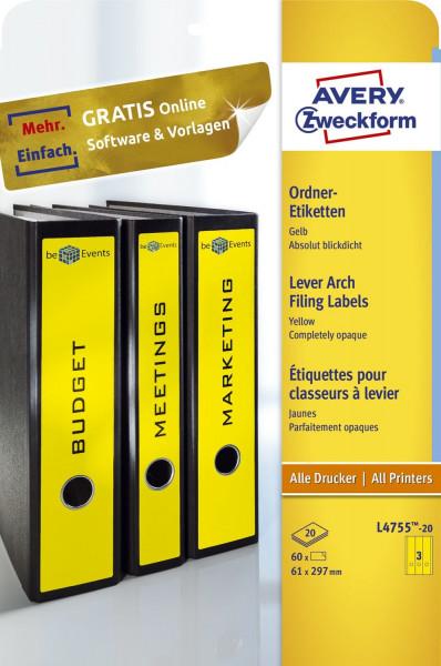 Zweckform® L4755-20 gelb Rückenschild breit lang ,A4, 20 Blatt 60 Stück