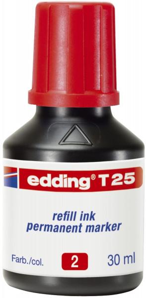 Edding T 25 rot Nachfülltusche für Permanentmarker, 30 ml,