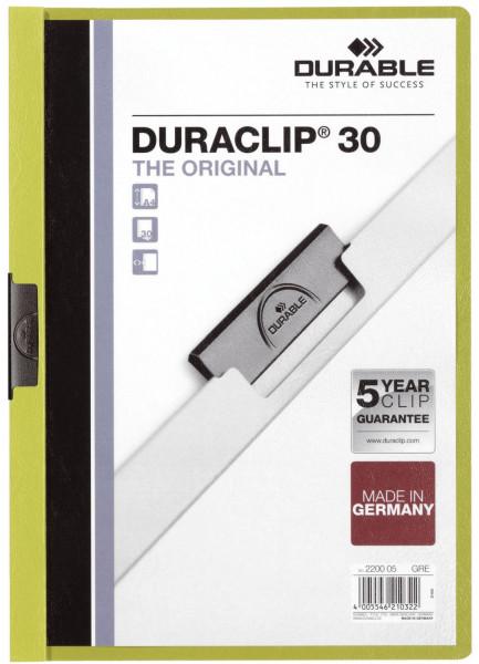 Klemm-Mappe DURACLIP® 30, DIN A4, grün