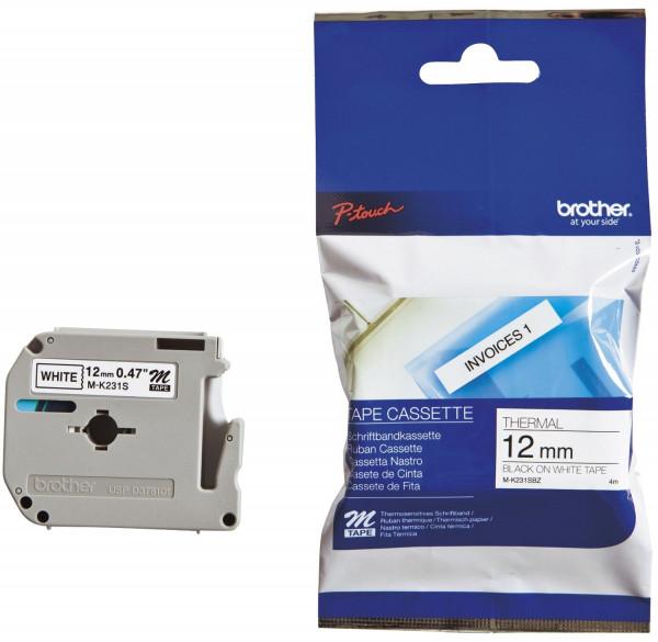 Brother® MK231 BZ Schriftbandkassetten, unlaminiert Größe: 12 mm x 8 m (B x L) schwarz auf weiß