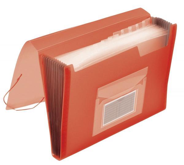 Q-Connect Fächermappe rot PP mit 13 Taschen - transluzente Farben: für 250 Blatt