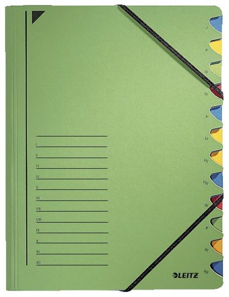 Leitz 3912 Ordnungsmappe, 12 Fächer, grün Colorspankarton