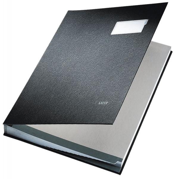 Leitz 5700 Unterschriftenmappe, schwarz, 20 Fächer, Überzug PP,