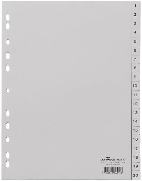 Durable 6522 Register 1 - 20, PP grau, A4, 20 Blatt