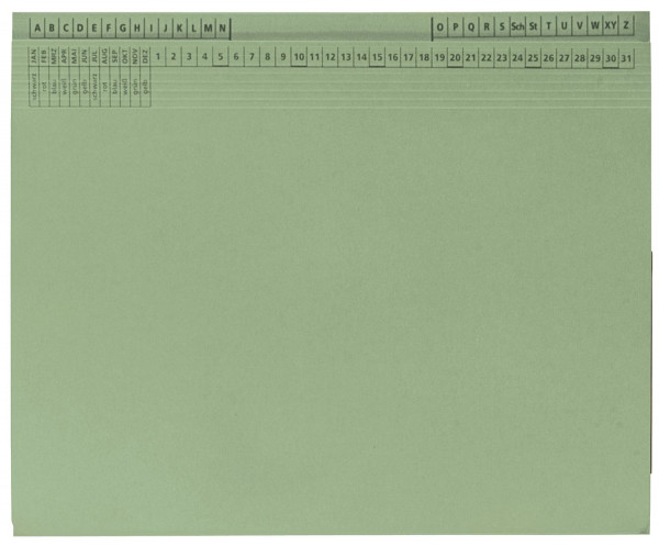25 Kanzleihefter B ungefalzt RH/LH 1 Tasche, 1 Abheftvorrichtung, grün